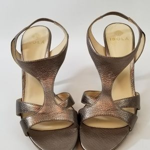 Isola Shoes - Isola Ibera Anthracite Leather Slingback Open Toe